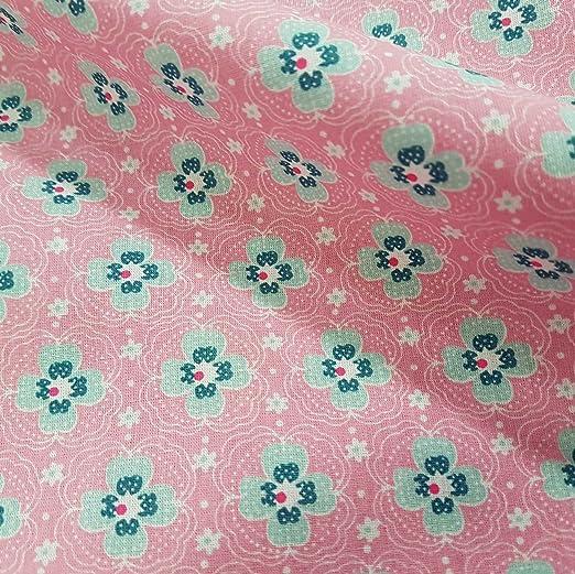 Stoff-Kollektion Tela Tela de algodón Metro Color Rosa Flores Mint ...