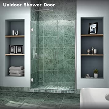 DreamLine Unidoor 47-48 in. Width Frameless Hinged Shower Door 3/ & DreamLine Unidoor 47-48 in. Width Frameless Hinged Shower Door 3/8 ...
