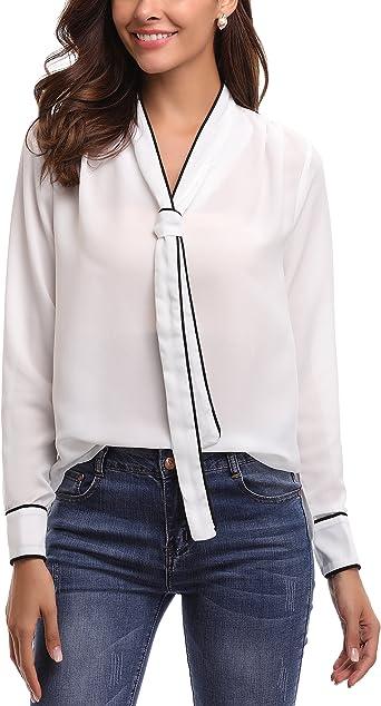 Abollria Blusa Elegante para Mujer Camisa con Arco Oficina Shirt Cuello V Ligera Básica Gasa Top Manga Larga para Primavera, Otoño e Invierno: Amazon.es: Ropa y accesorios