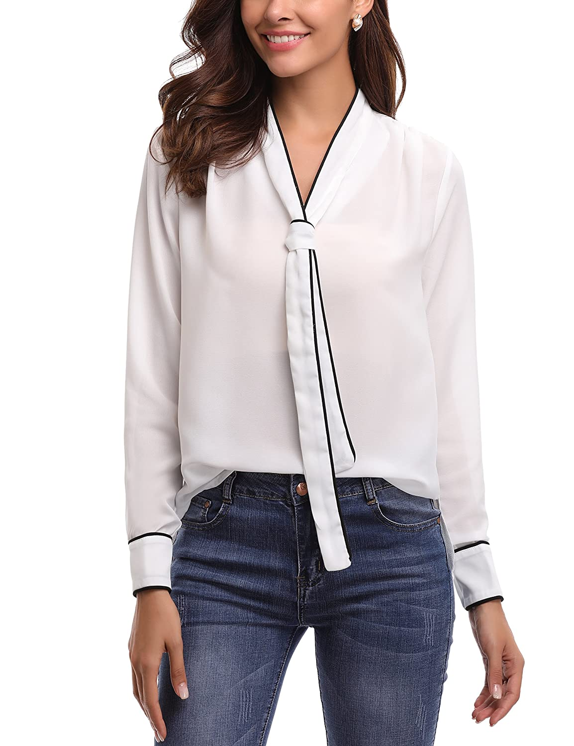 Abollria Womens Chiffon Long Sleeve Tops Casual Blouse Shirt AMN00022