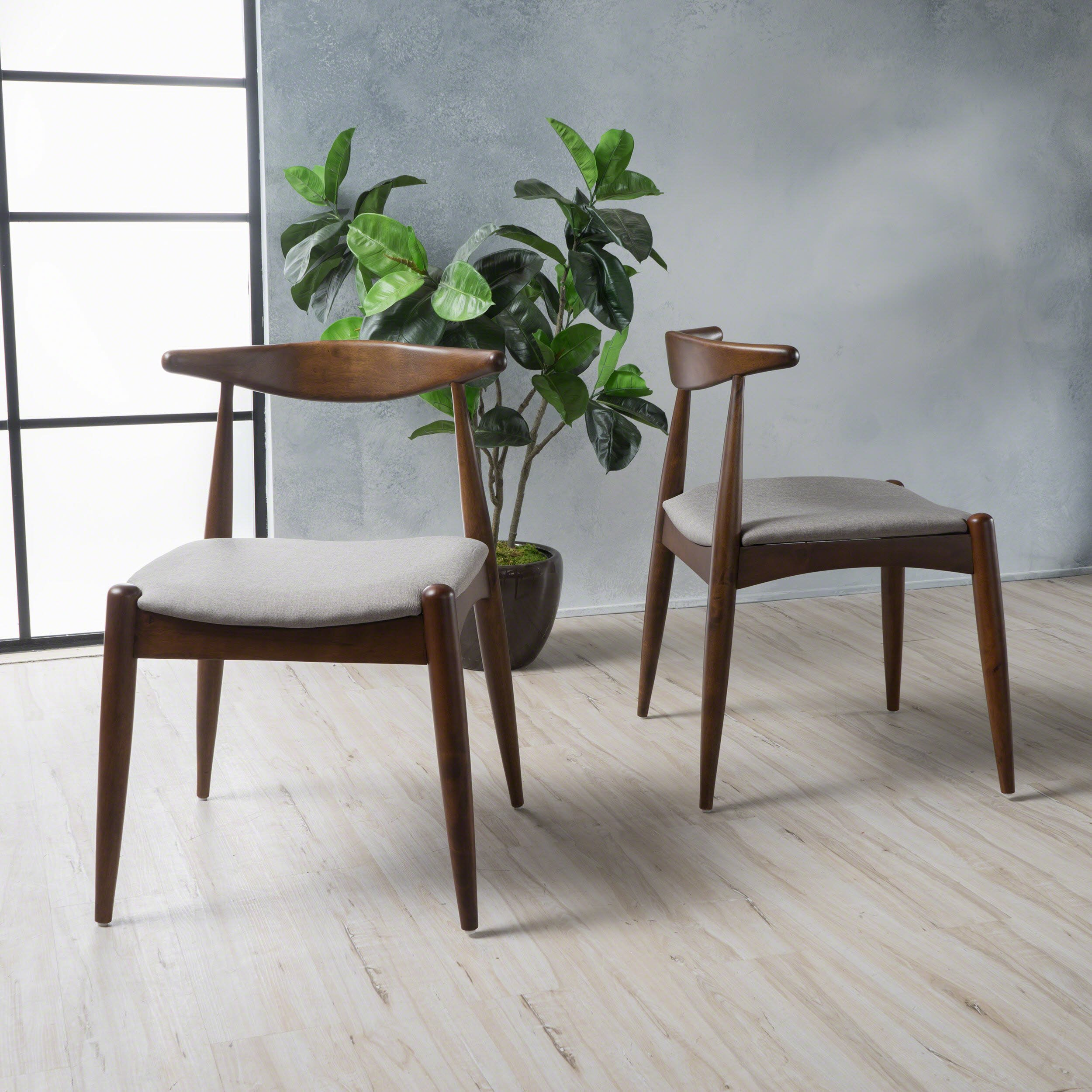 Christopher Knight Home 300007 Francie Dark Beige Fabric with Walnut Finish Dining Chairs (Set of 2) by Christopher Knight Home