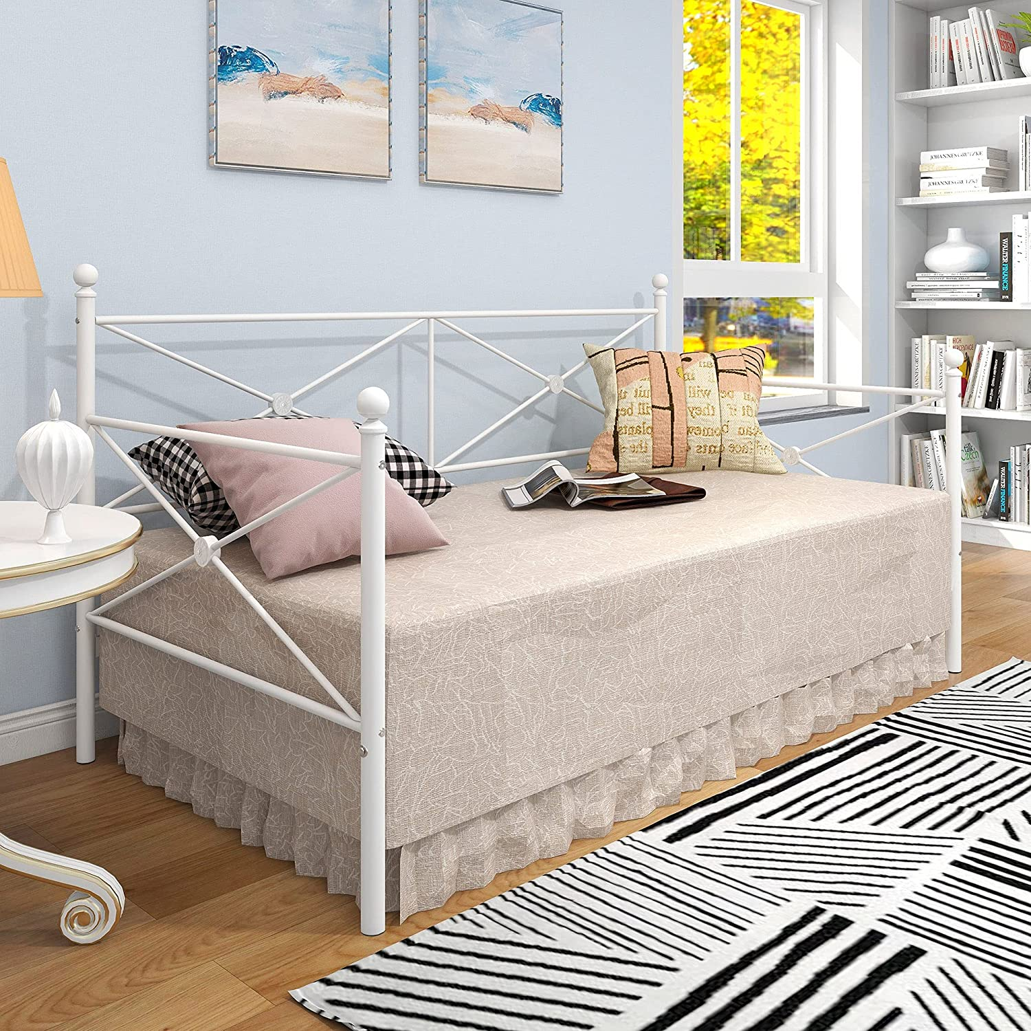 JURMERRY Daybed Twin Size Metal Frame,Multi-Functional Furniture,White