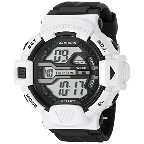 Armitron Sport Mens 40/8360WHT White Accented Digital Chronograph Black Resin Strap Watch