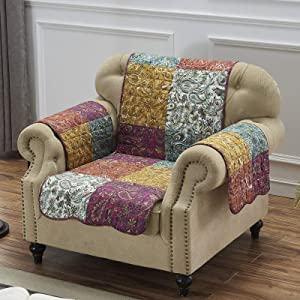 Barefoot Bungalow Paisley Slumber Furniture Protector Slipcover, Arm Chair, Spice