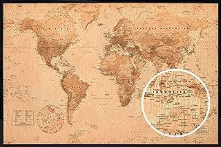 product image for Frame USA World Map Antique Poster (Black Hardboard Poster Frame)(36x24)