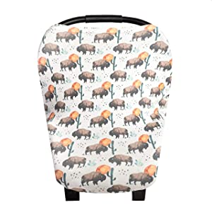 """Baby Car Seat Cover Canopy and Nursing Cover Multi-Use Stretchy 5 in 1 Gift""""Bison"""" by Copper Pearl"""