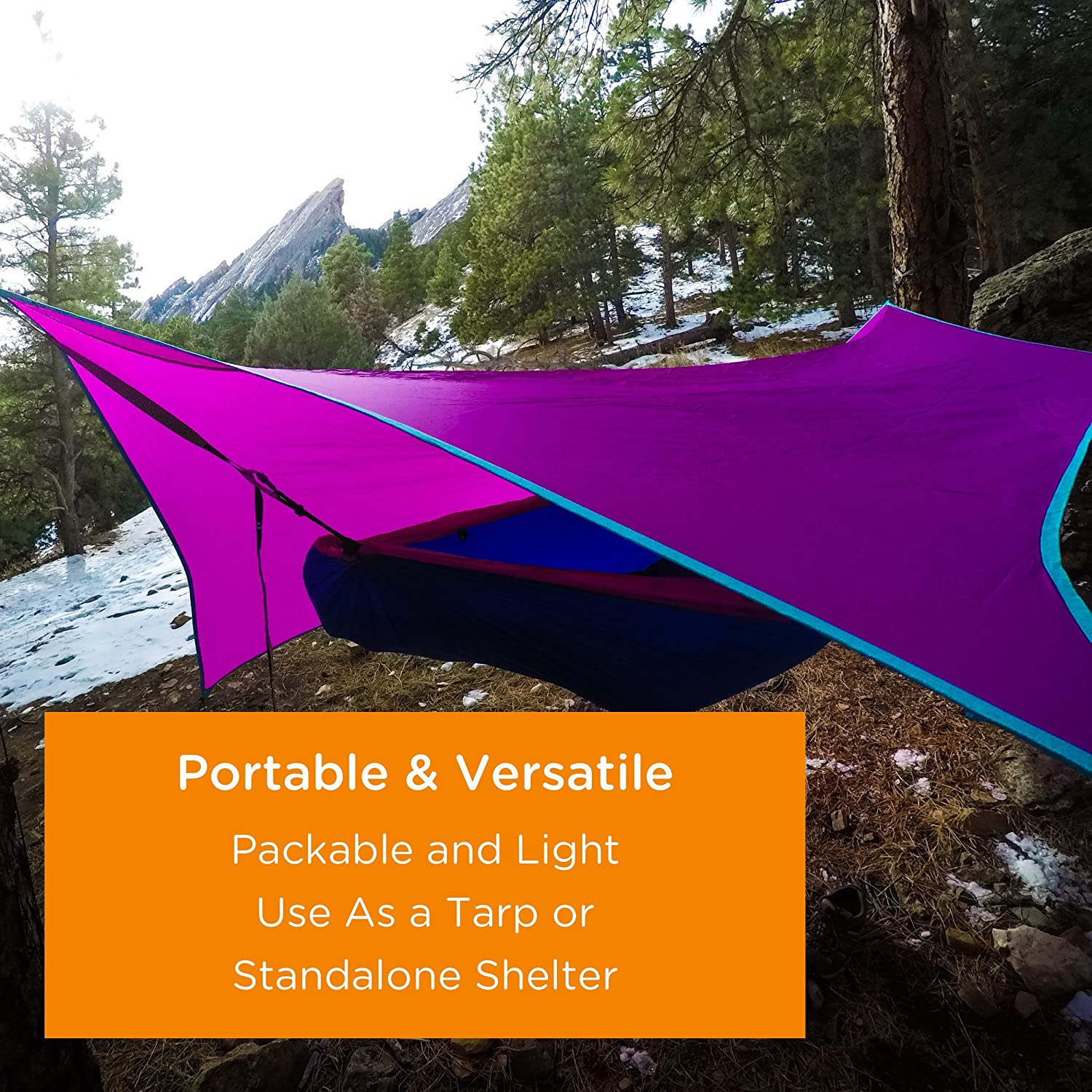 Teal//Purple Serac #1 Hammock and Tent Tarp Ultralight Hammock Rain Fly and Shelter Perfect for Waterproof Camping, Lightweight Backpacking and Portable for Travel by Lightweight Backpacking and Portable for Travel