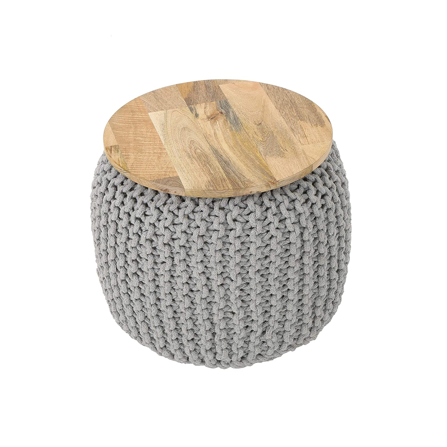 Great Deal Furniture 305063 Vivan Boho Knitted Ottoman, Gray, Natural