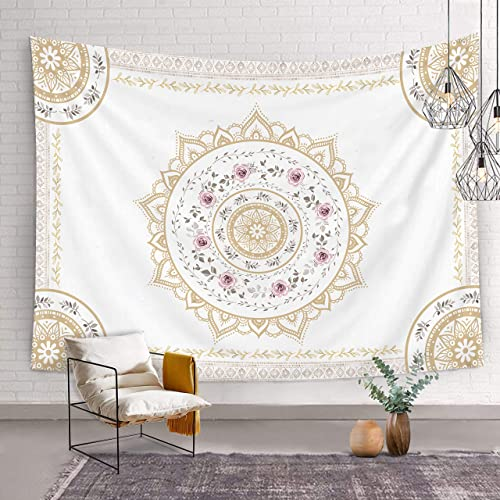 Bonsai Tree Mandala Tapestry, Indian Hippie Bohemian Mens Tapestry Wall Hanging Psychedelic, Trippy Florals Queen White Gold Wall Tapestries for Bedroom College Home Decorations, 68.9 x92