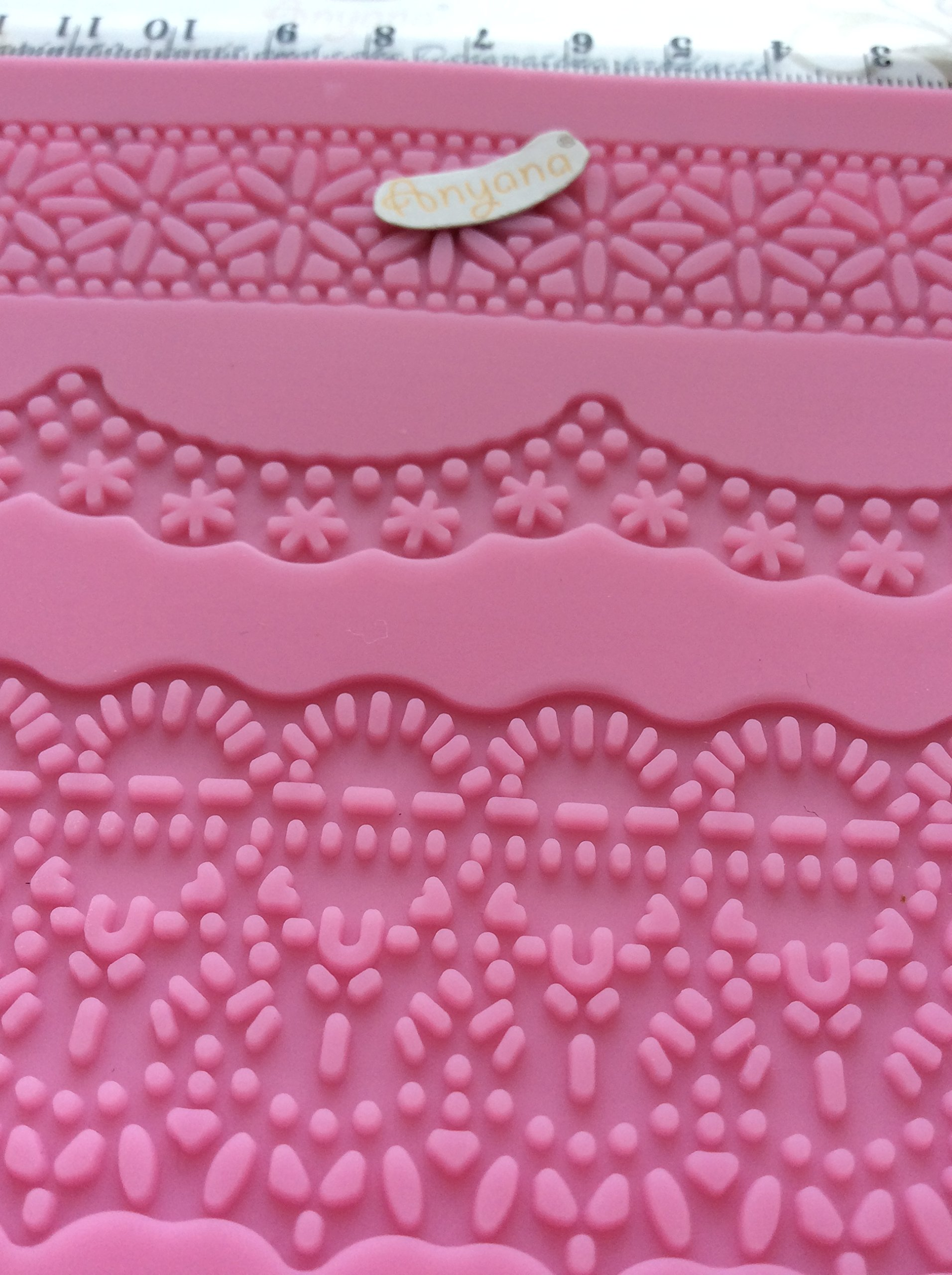 Anyana set of 4 huge 15.5'' sugar edible cake silicone fondant impression lace mat cake decorating mold gum paste cupcake topper tool icing candy imprint baking moulds sugarcraft trimming flower by Anyana (Image #9)