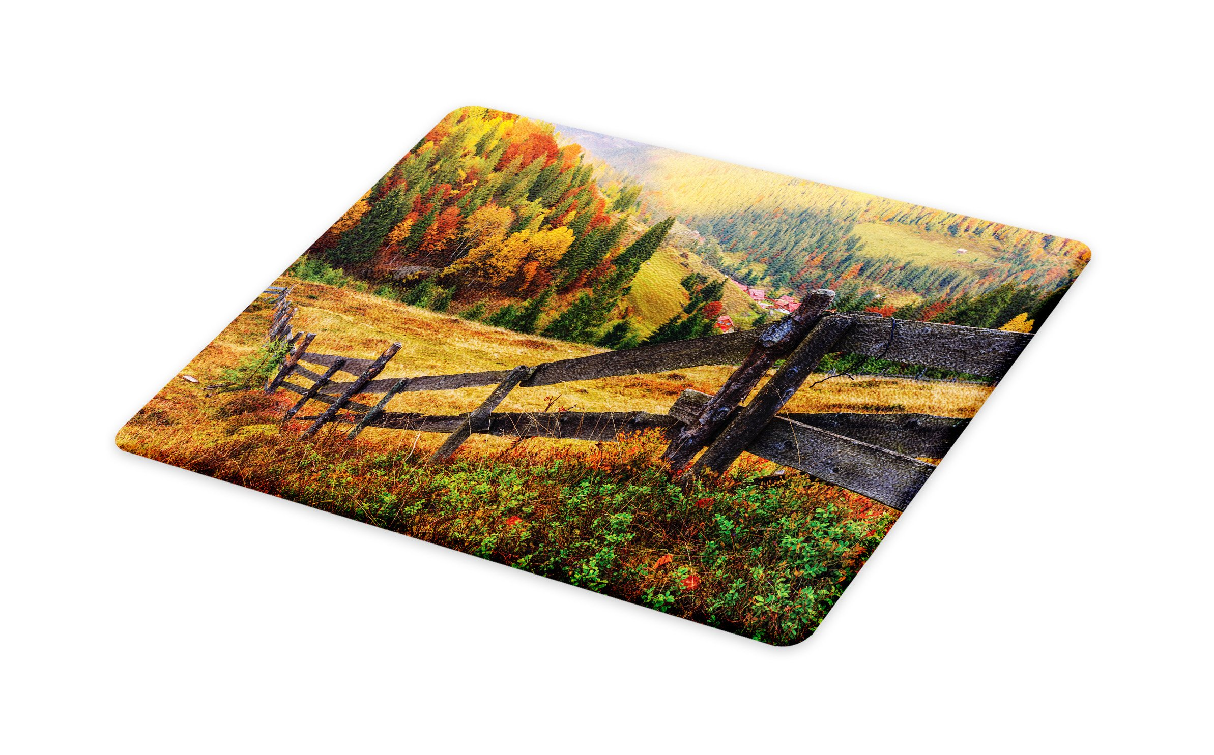 Lunarable Landscape Cutting Board, Colorful Autumn Scene with Old Wood Fence on Meadow Countryside Fall Image, Decorative Tempered Glass Cutting and Serving Board, Large Size, Green Yellow