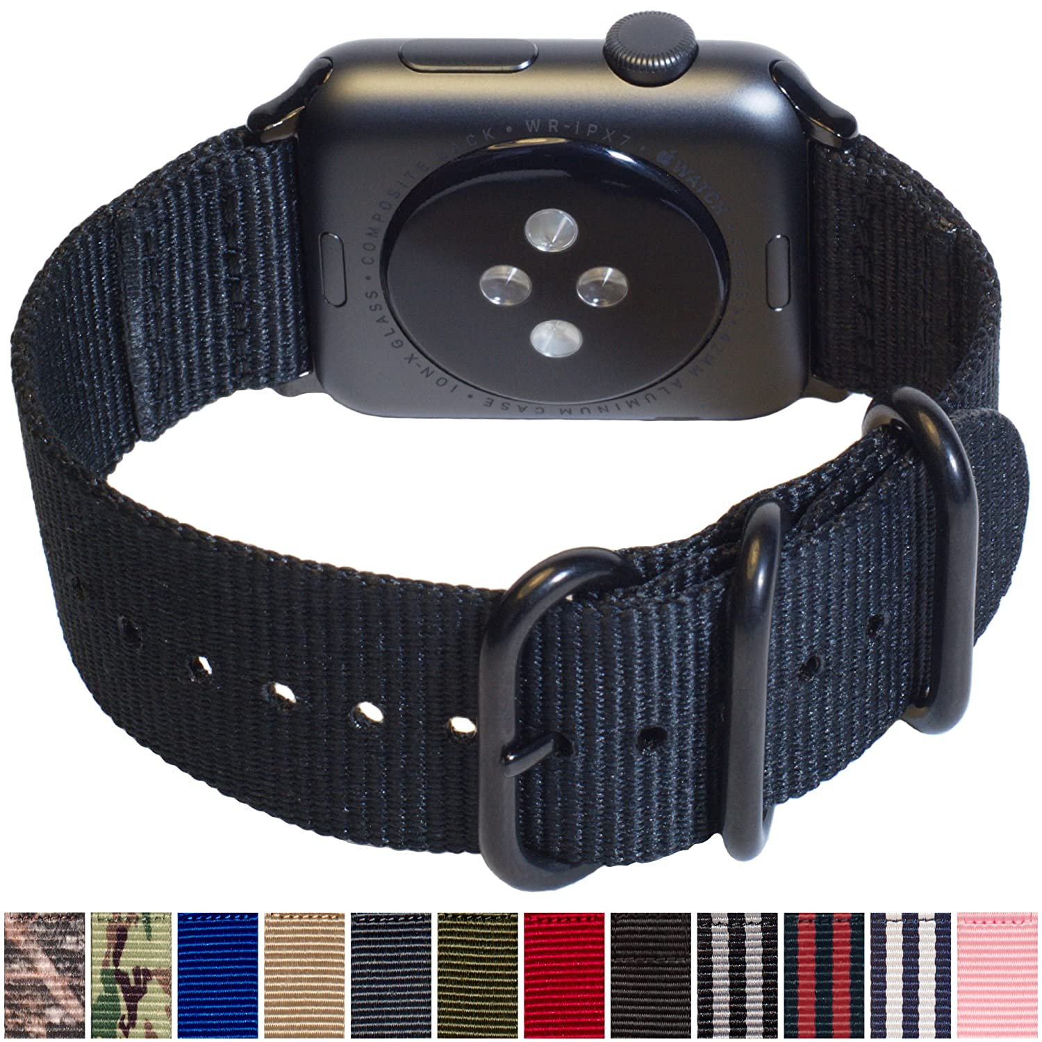 3d9c93f6a573 Carterjett Extra Large Nylon NATO Compatible Apple Watch Band 42mm XL Replacement  iWatch Band