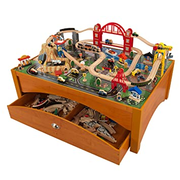 Amazoncom KidKraft Metropolis Train Set And Honey Table Train - Train set table