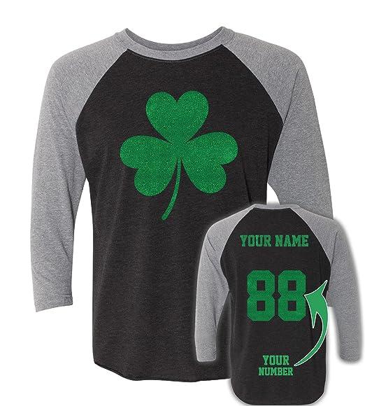 c7e66ec469e03 Sparkly Glitter St Patrick's Day T Shirts ☘ Custom Jersey Saint Pattys  Outfits Black