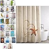 Duschvorhang, viele schöne Duschvorhänge zur Auswahl, hochwertige Qualität, inkl. 12 Ringe, wasserdicht, Anti-Schimmel-Effekt (Sandy, 180 x 180 cm)
