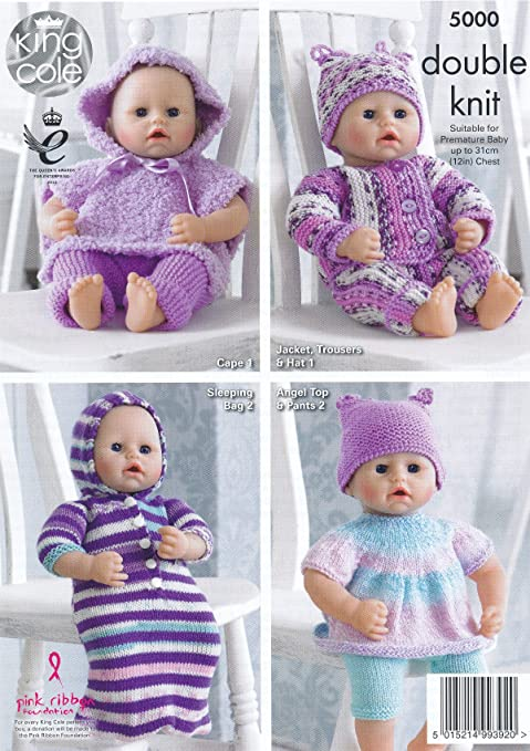 Amazon King Cole Double Knitting Dk Pattern For Premature Baby