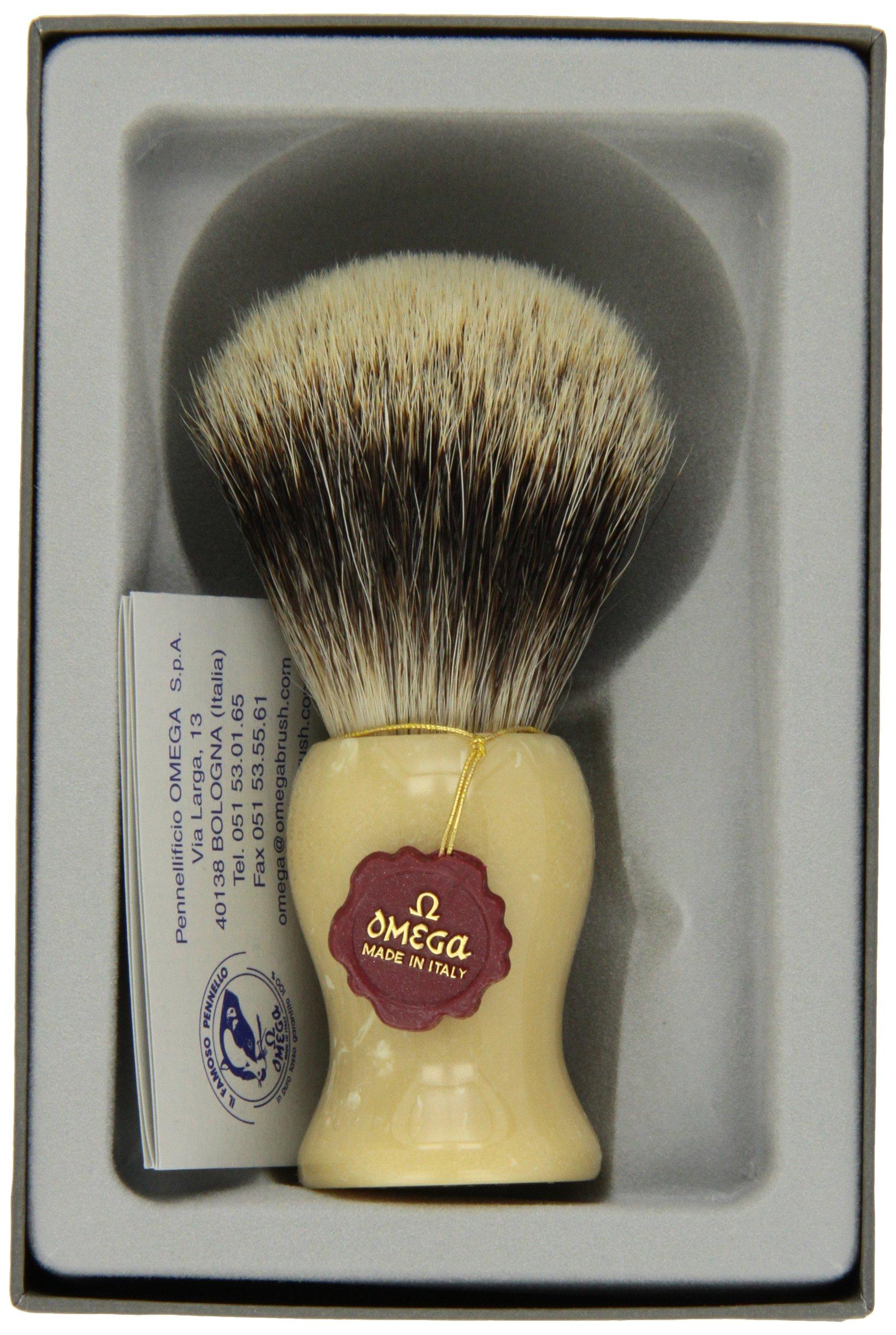 Elegant Silver Tip Badger Shaving Brush by Omega
