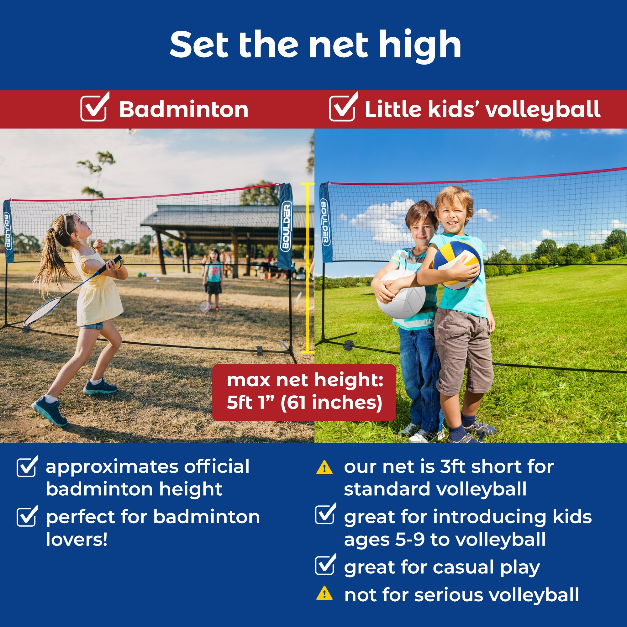 Boulder Portable Badminton Net Set - 10-Ft Net for Tennis, Soccer Tennis, Pickleball, Kids Volleyball - Easy Setup Nylon Sports Net with Poles - for Indoor or Outdoor Court, Beach, Driveway by Boulder (Image #1)