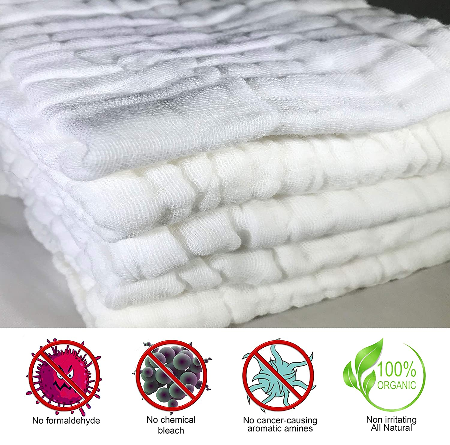 Amazon.com : Baby Muslin White Washcloths and Towels - 100% Organic Natural Cotton Baby Wipes - Premium Extra Soft Newborn Baby Face Towels for Sensitive ...
