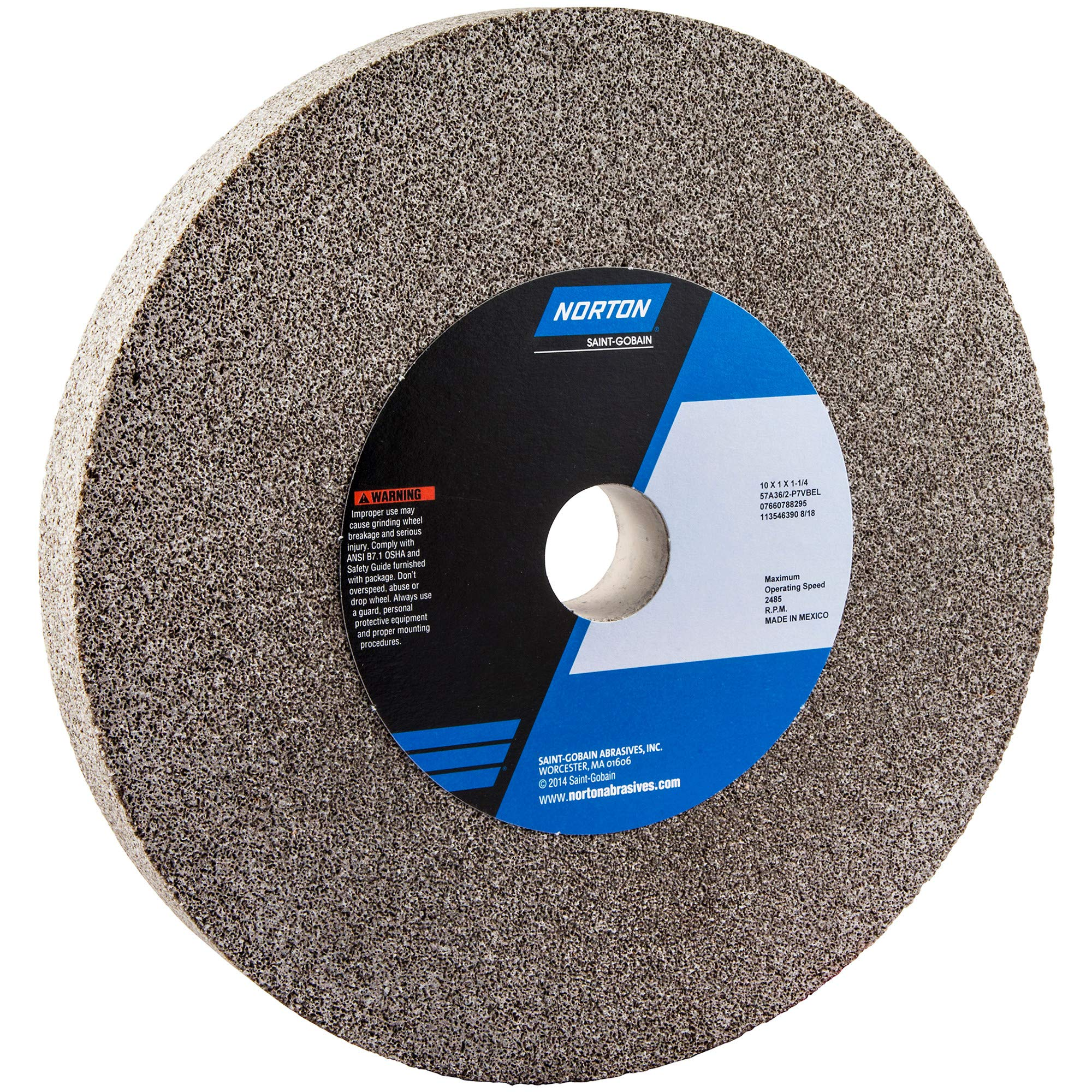 Norton Bench and Pedestal Abrasive Wheel, Type 01 Straight, Aluminum Oxide, 1-1/4'' Arbor, 10'' Diameter, 1'' Thickness, Coarse Grit (Pack of 1) by Norton Abrasives - St. Gobain