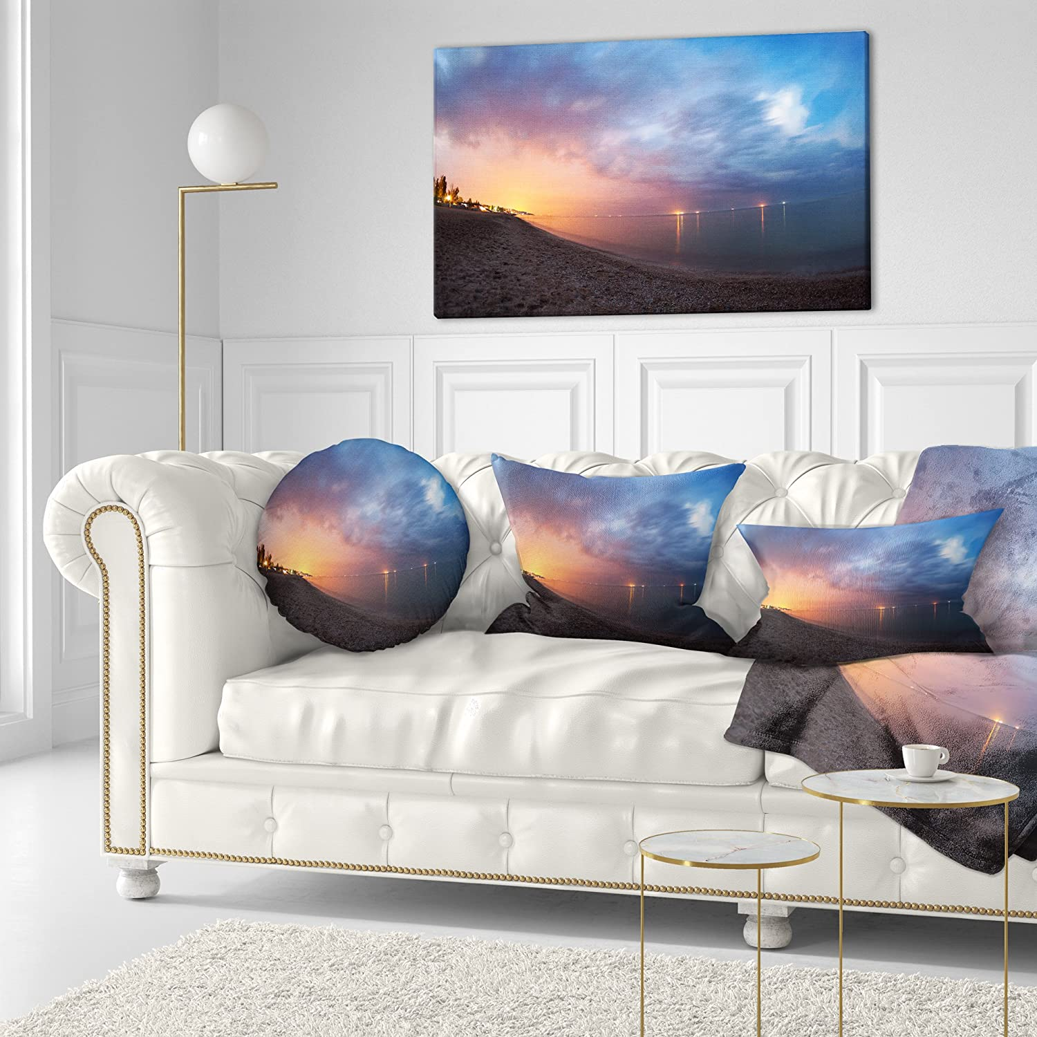Home Kitchen Sofa Throw Pillow 20 Designart Cu9353 20 20 C Summer Night With Blue Sky Skyline Photography Round Cushion Cover For Living Room Decorative Pillows Inserts Covers