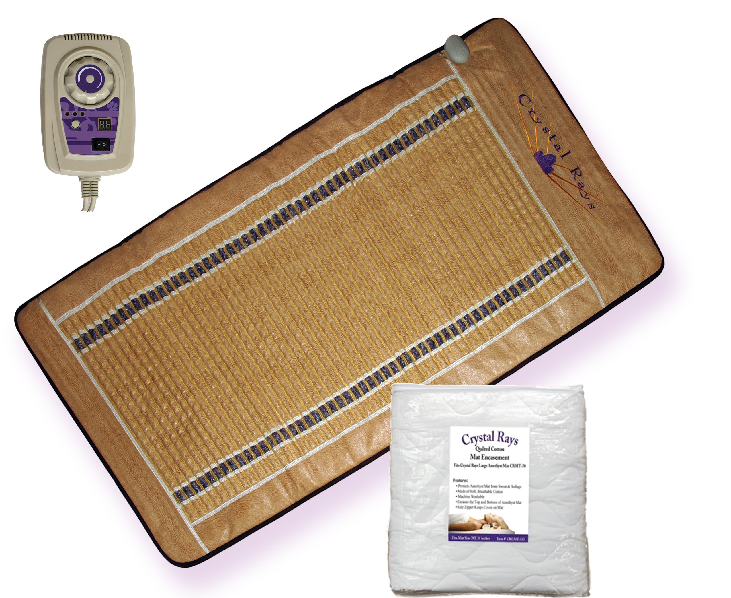 Portable Dry-Sauna. Amethyst Gemstones Mat; Far Infrared Rays & Neg Ions by Crystal Rays. Washable Cotton Case Included. Large Professional-Size. Full 1 Year Warranty.
