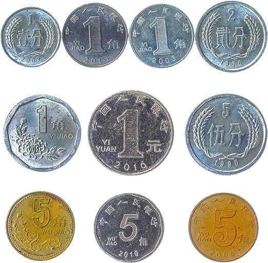 10 Antiguas Monedas de China Oficialmente la República Popular de China (PRC) Asia coleccionables Monedas Chinas Fen, Jiao.: Amazon.es: Juguetes y juegos