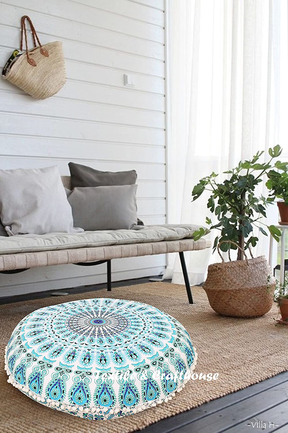 Style -1 TEXTILE/&CRAFT HOUSE Decorative Mandala Round Floor Pillow Cushion Cover Pouf Cover Indian Bohemian Ottoman Poufs Cover With Pom Pom outdoor Cushion Cover