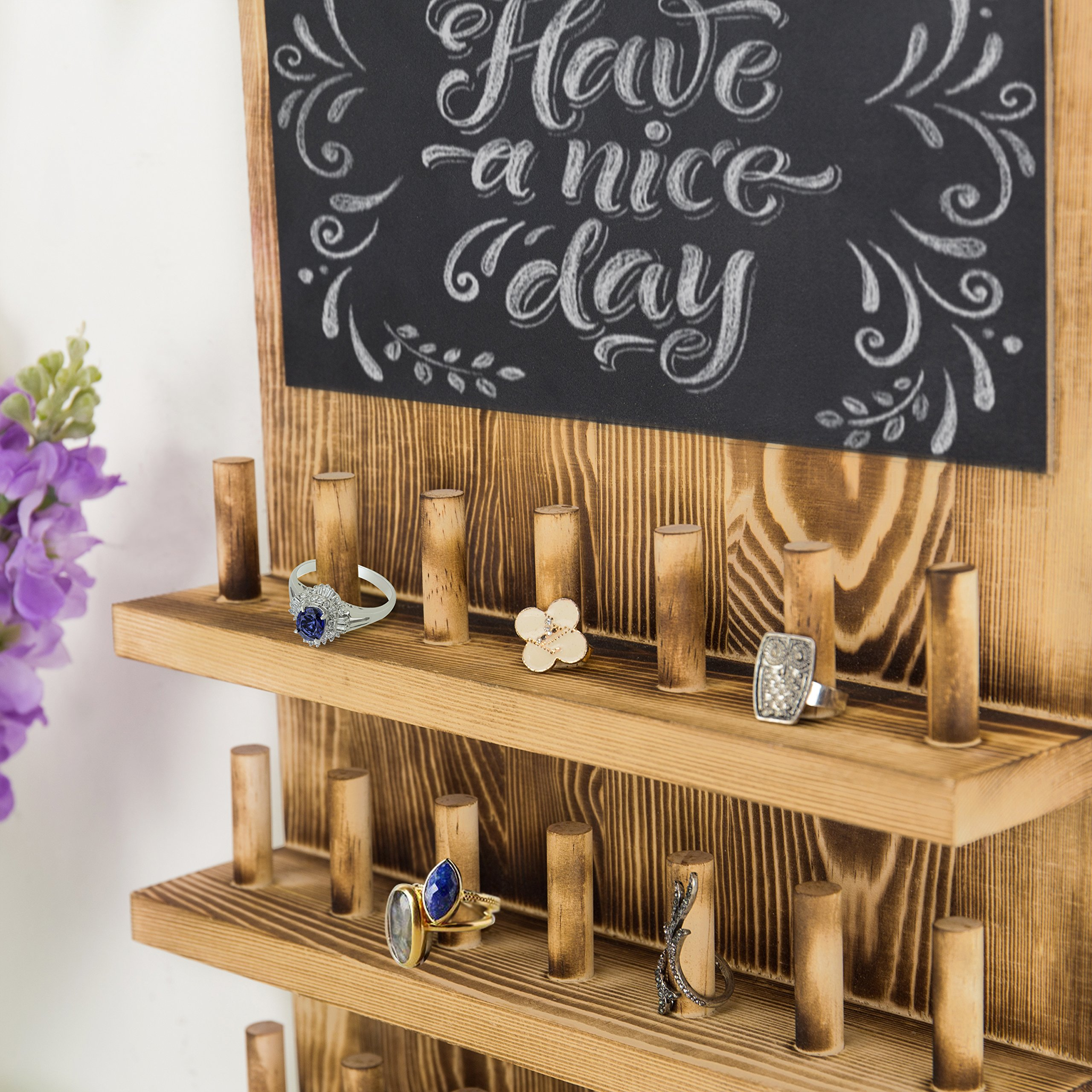 MyGift 3-Tier Wall-Mounted Wood Ring Display Rack with Chalkboard by MyGift (Image #3)