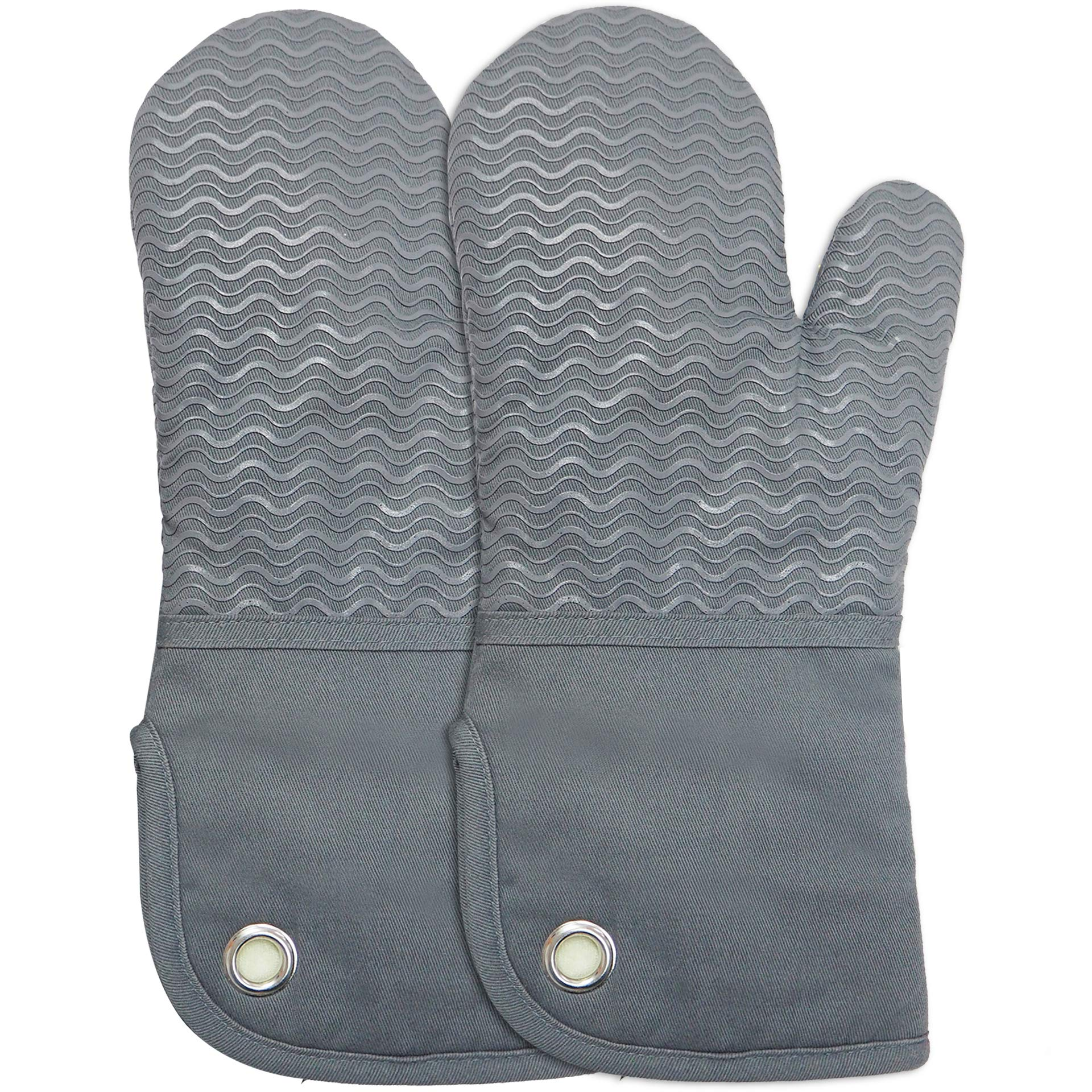 Silicone Groment Oven Mitts with Heat Resistant Non-Slip Set of 2, Cotton Quilting Lining, Oven Gloves and Pot Holders Kitchen Set for BBQ Cooking Baking, Grilling, Barbecue, Machine Washable Grey by EnjoyLife Inc
