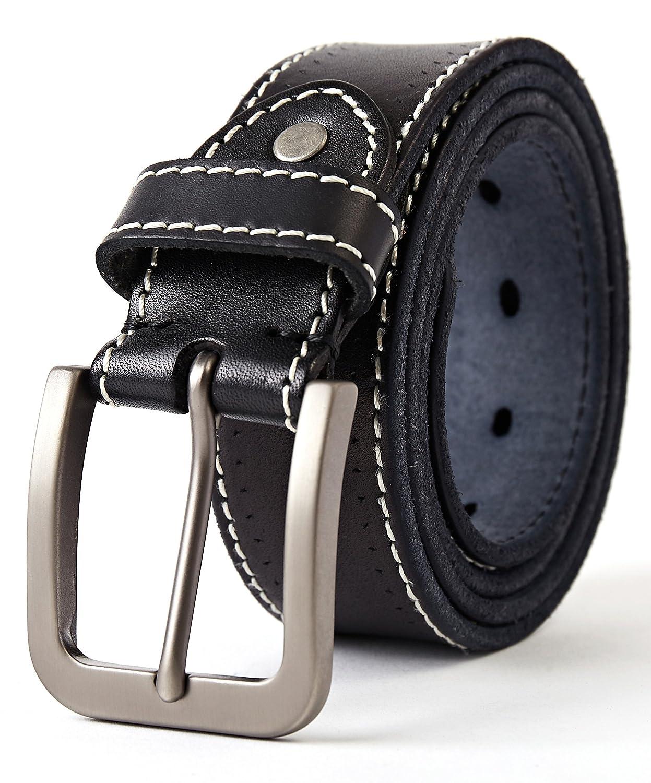 cintur/ón de los pantalones vaqueros de la prima para el ocio 3ZHIYI Vintage Cintur/ón de piel de b/úfalo cuero 38 mm de ancho y aprox 4 mm de grueso