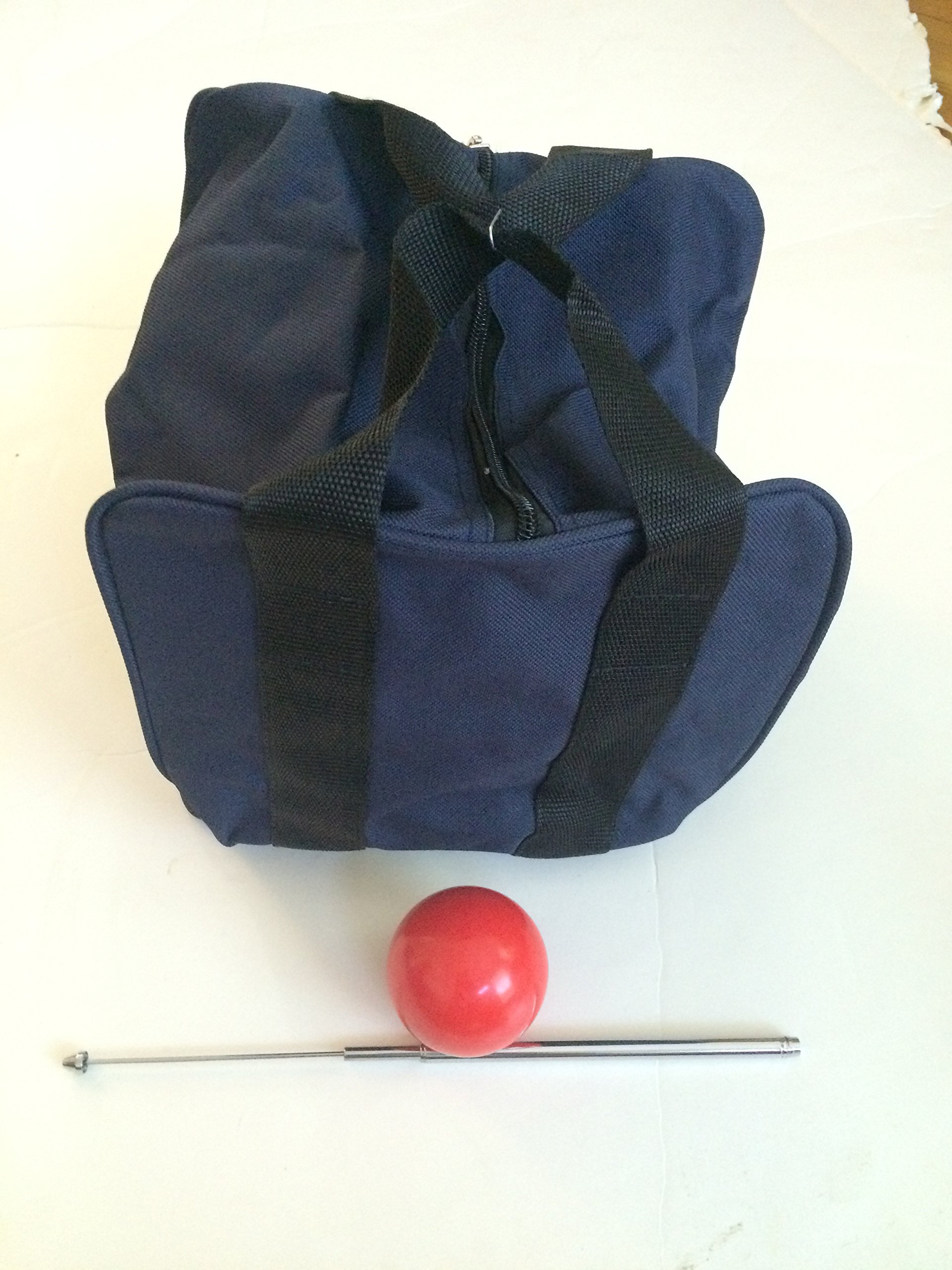 Unique Bocce Accessories Package - Extra Heavy Duty Nylon Bocce Bag (Blue with Black Handles), red pallina, Extendable Measuring Device
