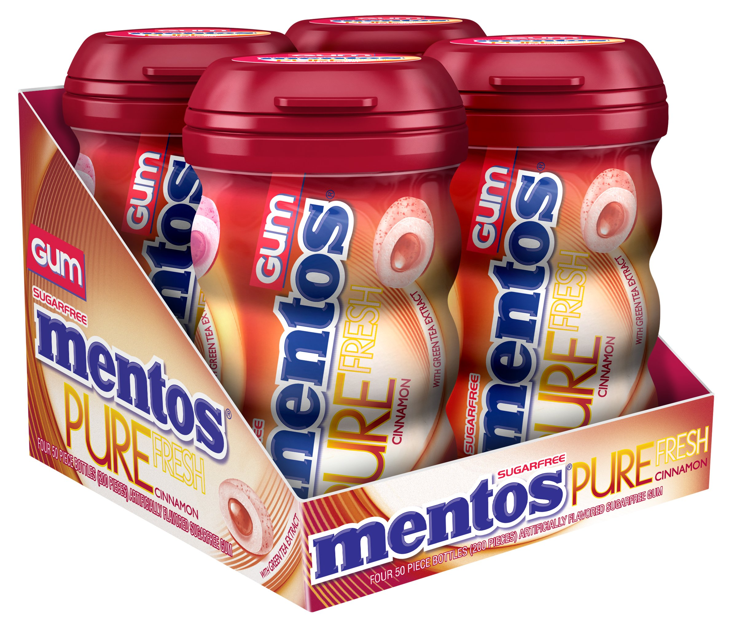 Mentos Pure Fresh Sugar-Free Chewing Gum with Xylitol, Cinnamon, 50 Piece Bottle (Pack of 4)