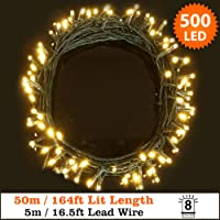 Fairy Lights 500 LED Warm White Outdoor Christmas Lights String Lights 8 Functions 50m/164ft Lit Length with 5m/16.5ft Lead Wire Power Operated Ideal for Christmas- Indoor & Outdoor use-GREEN CABLE