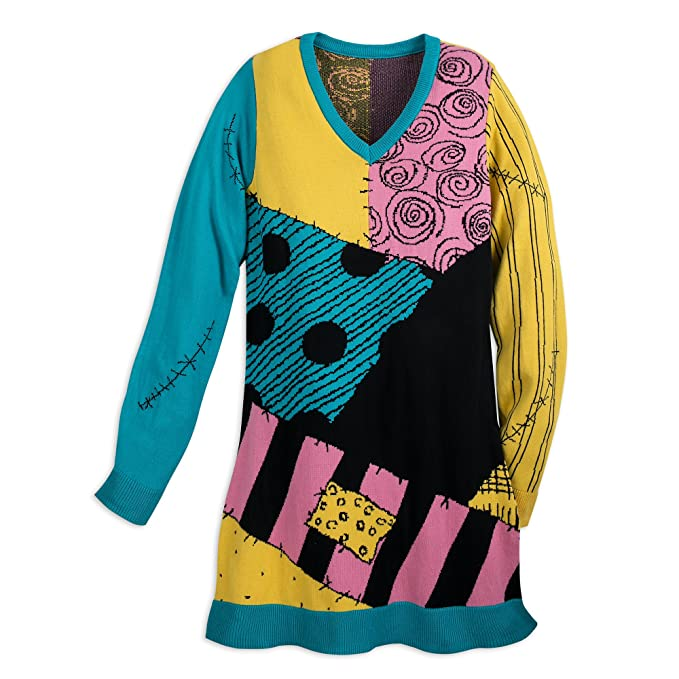Tim Burton Christmas Jumper.Disney Sally Sweater Dress For Women Nightmare Before Christmas Multi