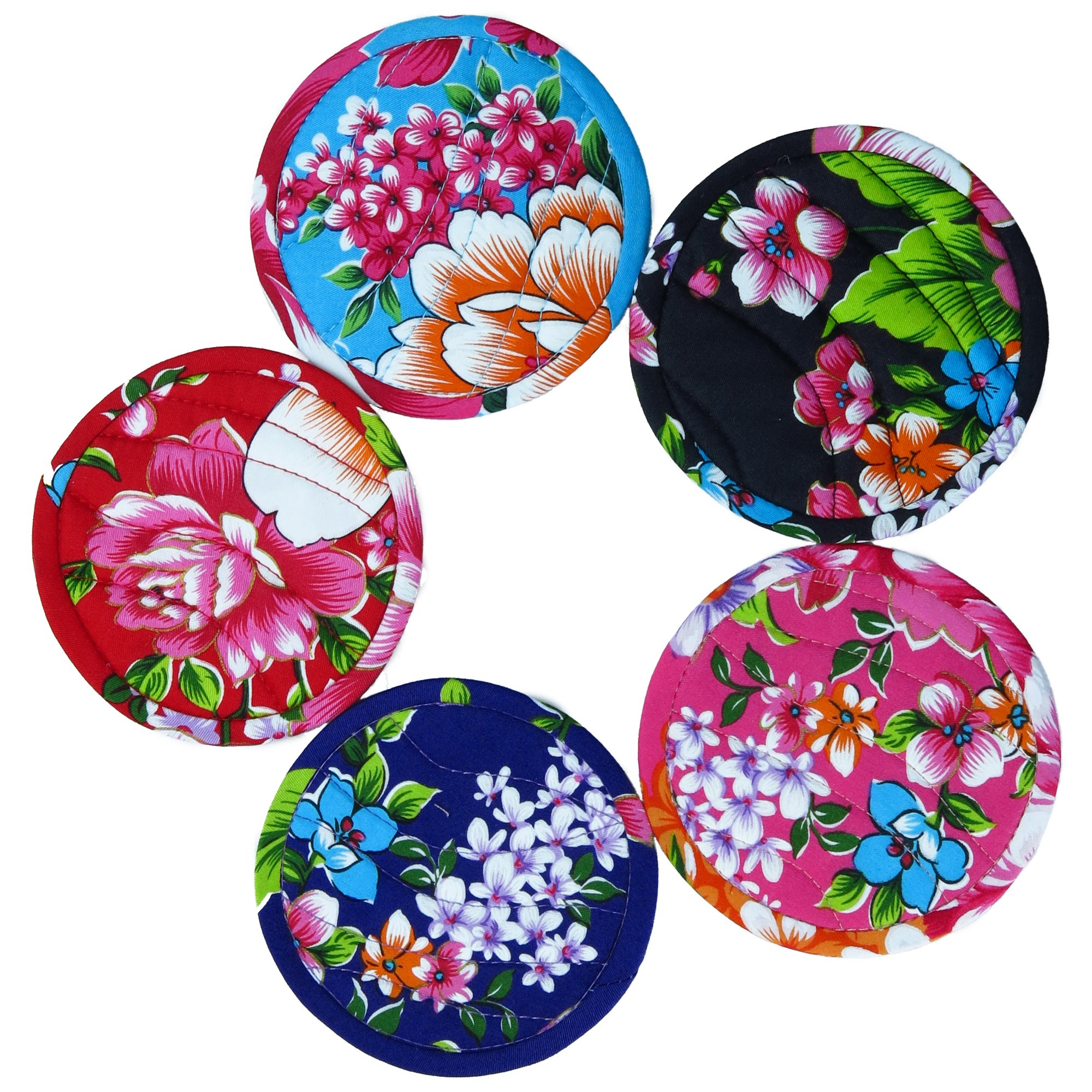 ✨ BARbee ✨ Retro Vintage Taiwanese Hakka Traditional Floral Pattern Design Handmade Water-Absorbent Wedding Gift Cup Coaster Set 5 pcs/Set (Made in Taiwan, 10.5x10.5cm, Multicolor)