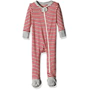 Burt's Bees Baby Baby Organic Zip Front Non-Slip Footed Sleeper Pajamas, Candy Cane Stripe Cranberry, 3-6 Months