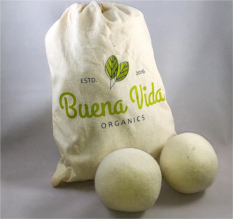 Wool Dryer Balls - Set of 6 XL 100% Natural Wool, Reusable Organic Fabric Softener