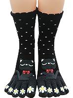 Urban CoCo Women Toe Socks Funky Finger Socks Lucky Cat Toes Socks