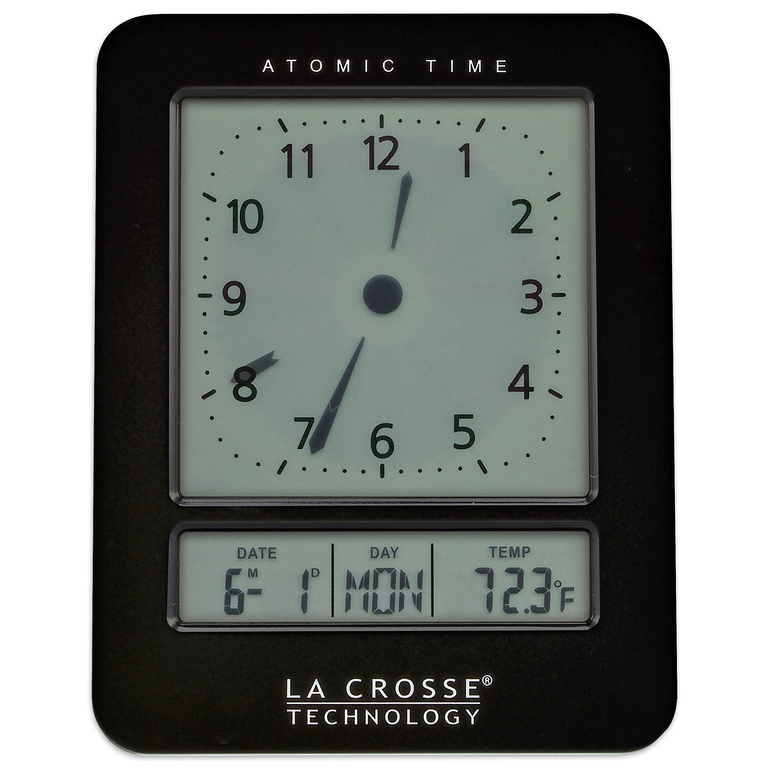 La Crosse Technology 617-1392B Atomic Digital Analog-Style Alarm Clock, Black