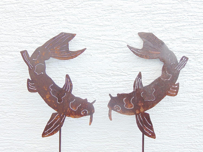 Edelrost Gartenstecker SET Koi Fisch Beetstecker Gartendeko H/öhe 113 cm
