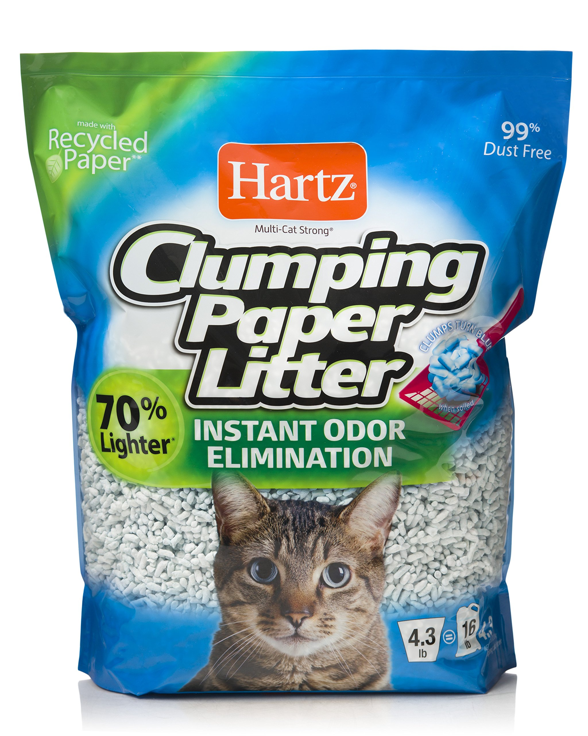 ..HARTZ Multi-Cat Lightweight Recycled Clumping Paper Cat Litter - 4.3lb