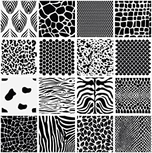 16 Pieces Animal and Plant Print Stencils Zebra Grain Art Painting Stencils Reusable Grain Painting Template for Painting on Wood Scrapbooking Tile Furniture Wall Decor