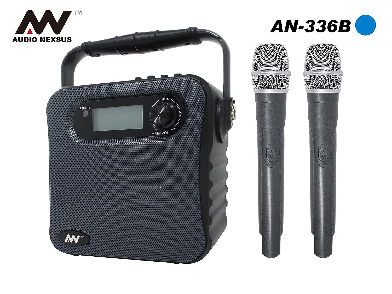 録音機能付き バッテリー内蔵ポータブルワイヤレススピーカー&ハンドマイク2本セット ワイヤレスマイク スピーカーセット 拡声器 アンプ内蔵スピーカー 会議 イベント 対応 マイク入力付 PE-W51SB 400-SP055 出力30W AUDIO NEXSUS AN-336 (周波数B43&B46) B07C5Q7HS2  周波数B43&B46