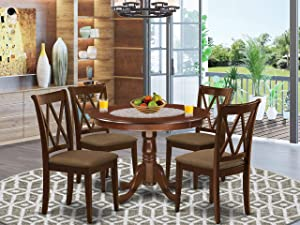 East West Furniture 5Pc Dining Set Includes a Round Dinette Table and Four Double X Back Microfiber Seat Kitchen Chairs, Mahogany Finish