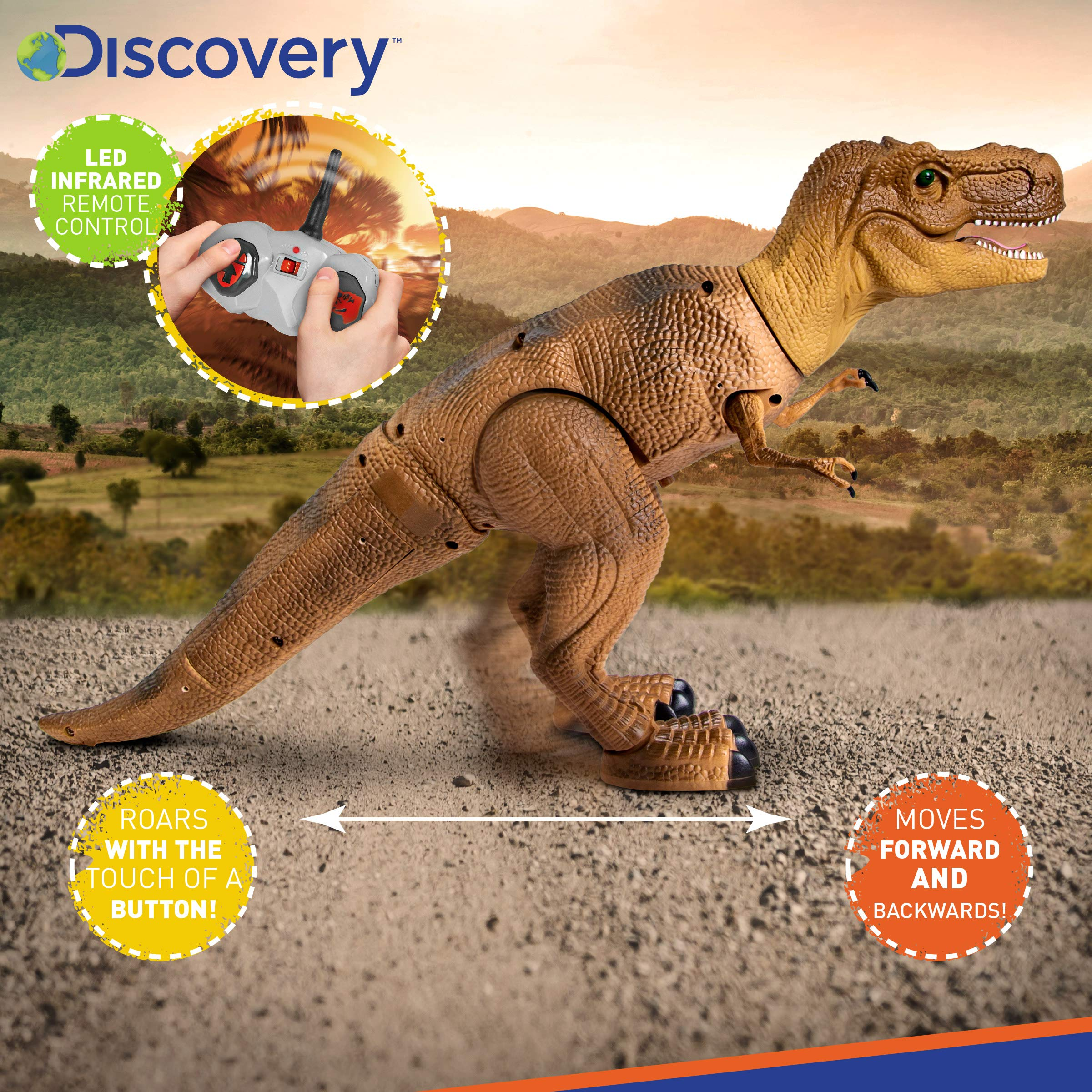 Discovery Kids Remote Control RC T Rex Dinosaur Electronic Toy Action Figure Moving & Walking Robot w/Roaring Sounds & Chomping Mouth, Realistic Plastic Model, Boys & Girls 6 Years Old+ by Discovery Kids (Image #4)