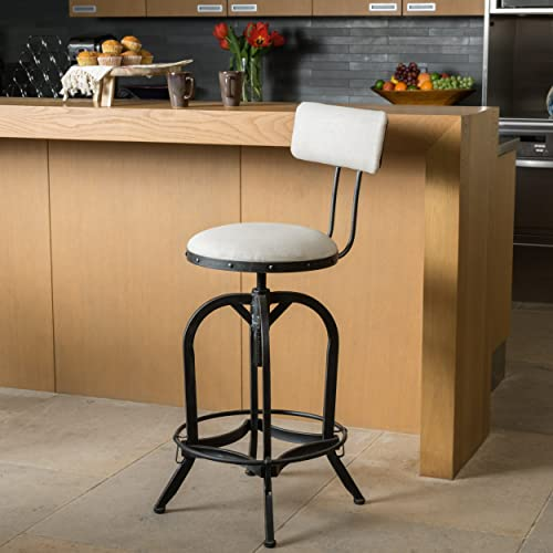 Christopher Knight Home Samthorn Metal Industrial Barstool with Backrest, Adjustable Indoor Swivel Stool, Off White