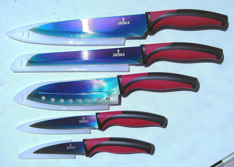 Amazon.com: SiliSlick Kitchen Knife Set | 5 Elegant Knives, Chef ...
