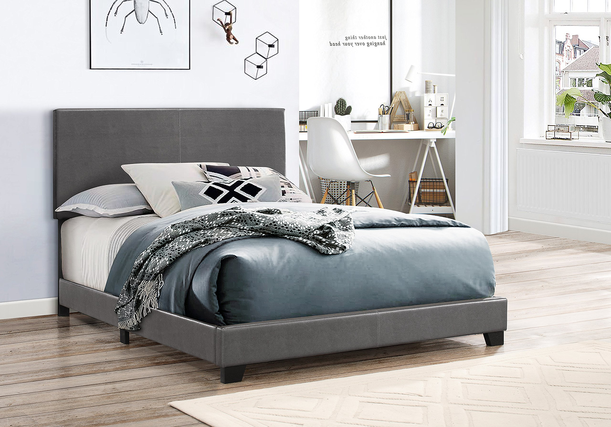 Crown Mark 5271PUGY-Q Erin Upholstered Bed, Queen, Grey by Crown Mark