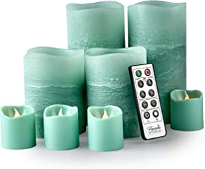 Furora LIGHTING LED Flameless Candles with Remote Control, Set of 8, Real Wax Battery Operated Pillars and Votives LED Candles with Flickering Flame and Timer Featured - Green